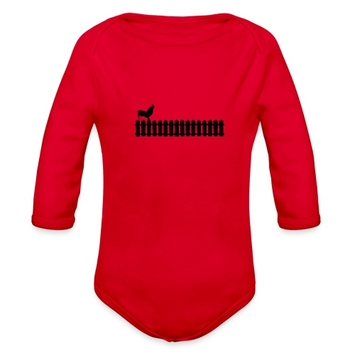 On the fence rooster - Organic Long Sleeve Baby Bodysuit