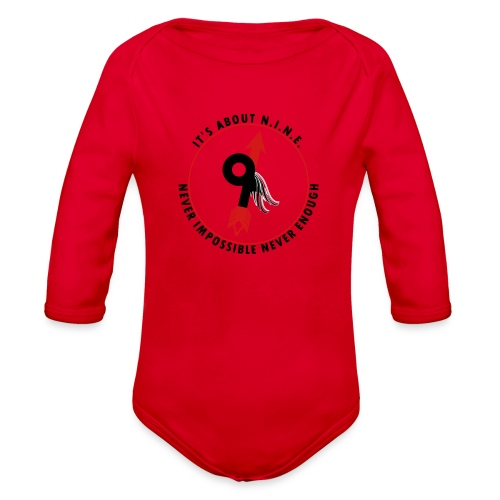 NINE Logo with Wings - Organic Long Sleeve Baby Bodysuit