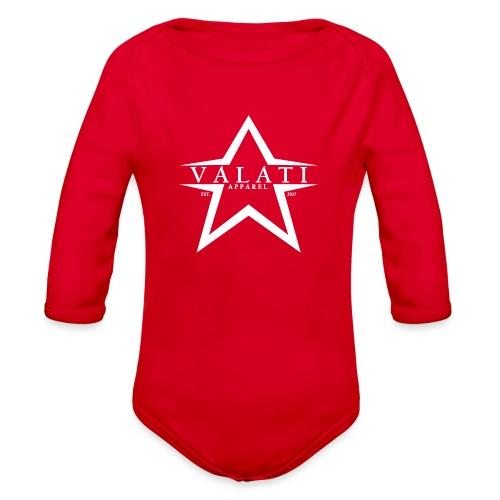 V-Star White - Organic Long Sleeve Baby Bodysuit