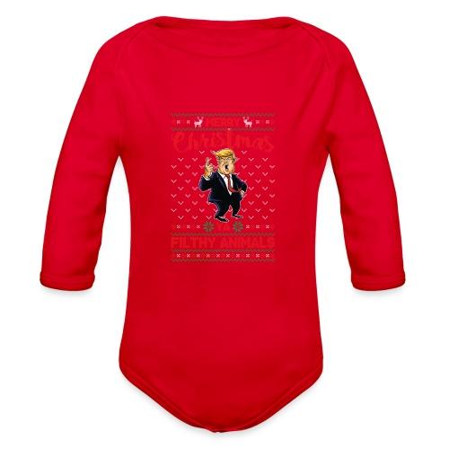 MEERRY CHRISTMAS YA FILTHY ANIMALS - Organic Long Sleeve Baby Bodysuit