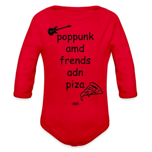 Pop Punk and Friends and Pizza - Organic Long Sleeve Baby Bodysuit