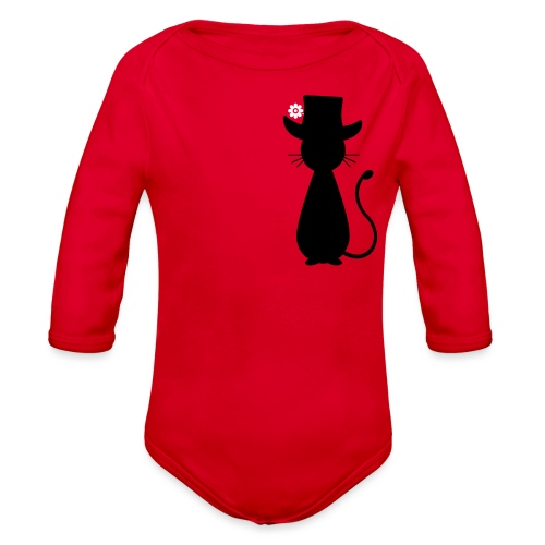 Cats - a Cat with a Hat - Organic Long Sleeve Baby Bodysuit