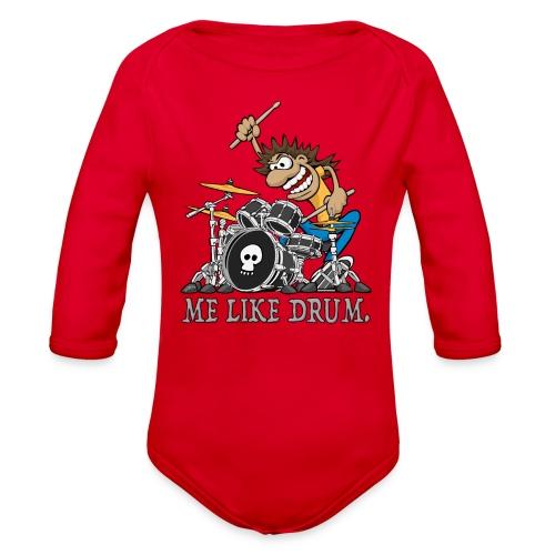 Me Like Drum. Wild Drummer Cartoon Illustration - Organic Long Sleeve Baby Bodysuit