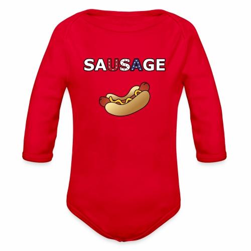 Patriotic BBQ Sausage - Organic Long Sleeve Baby Bodysuit