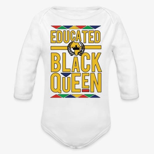 Educated Black Queen - Organic Long Sleeve Baby Bodysuit