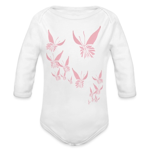 Soft Pink Butterfly - Organic Long Sleeve Baby Bodysuit