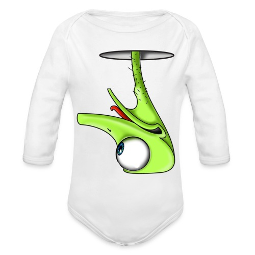 Funny Green Ostrich - Organic Long Sleeve Baby Bodysuit
