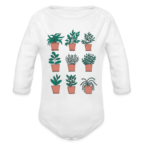 Flowerpots - Organic Long Sleeve Baby Bodysuit