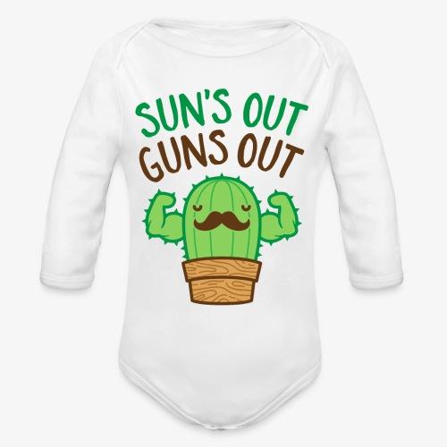 Sun's Out Guns Out Macho Cactus - Organic Long Sleeve Baby Bodysuit