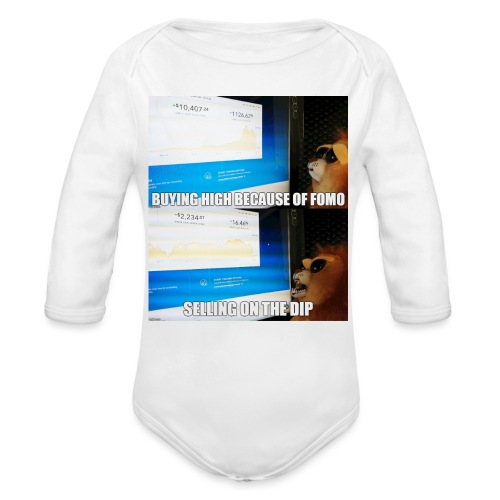Crypto Lion Buying High and Selling Low - Organic Long Sleeve Baby Bodysuit