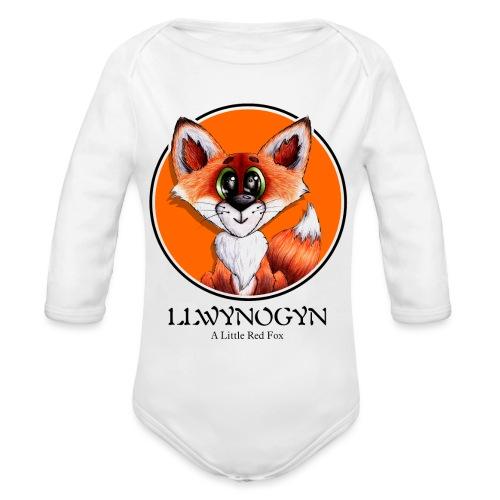 llwynogyn - a little red fox (black) - Organic Long Sleeve Baby Bodysuit