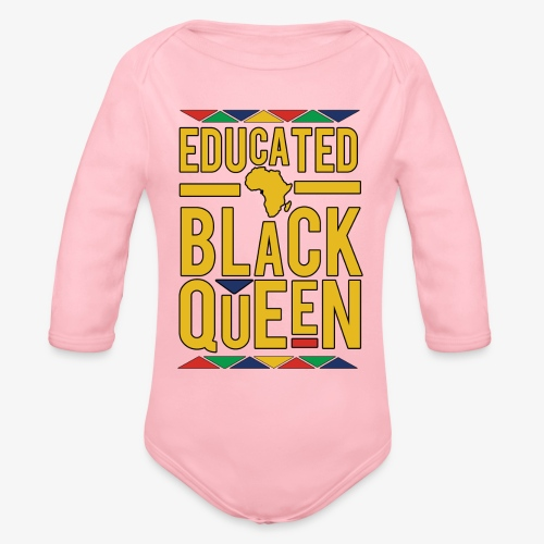 Dashiki Educated BLACK Queen - Organic Long Sleeve Baby Bodysuit