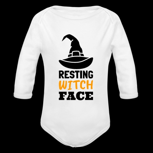Resting Witch Face | Funny Halloween - Organic Long Sleeve Baby Bodysuit