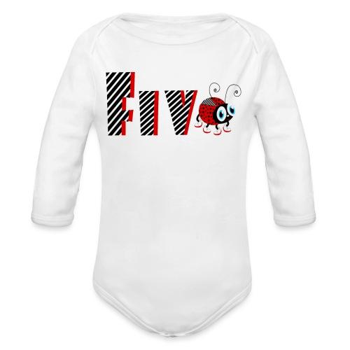5nd Year Family Ladybug T-Shirts Gifts Daughter - Organic Long Sleeve Baby Bodysuit