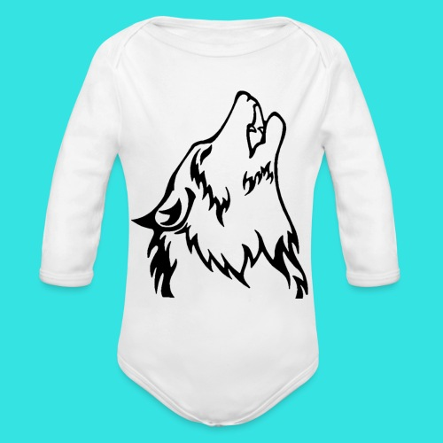 Wolf (back) - Organic Long Sleeve Baby Bodysuit