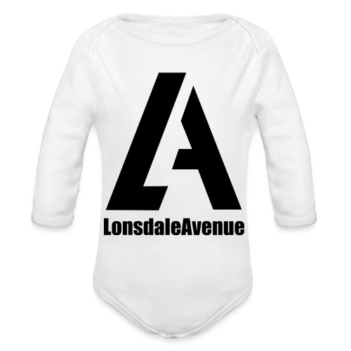 Lonsdale Avenue Logo Black Text - Organic Long Sleeve Baby Bodysuit