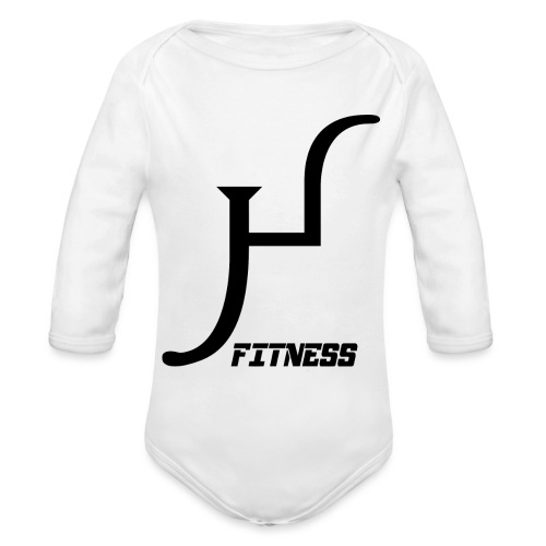HIIT Life Fitness logo white - Organic Long Sleeve Baby Bodysuit