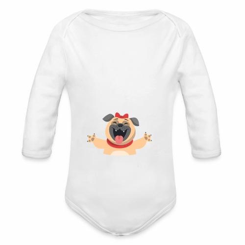 In love with my PUG - Organic Long Sleeve Baby Bodysuit