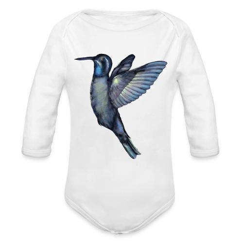 Hummingbird in flight - Organic Long Sleeve Baby Bodysuit