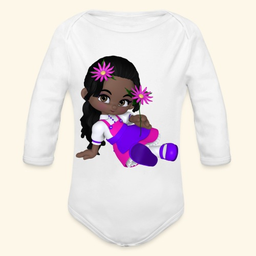 african dall - Organic Long Sleeve Baby Bodysuit