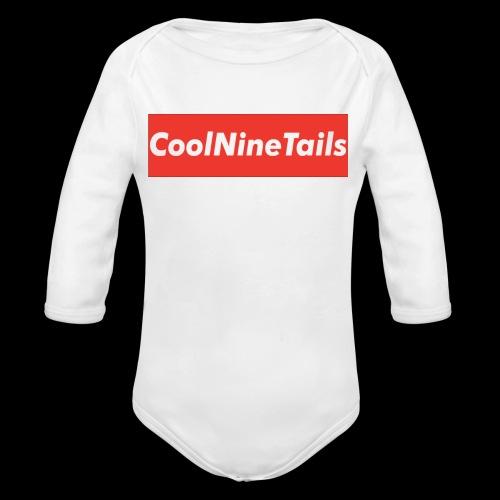 CoolNineTails supreme logo - Organic Long Sleeve Baby Bodysuit