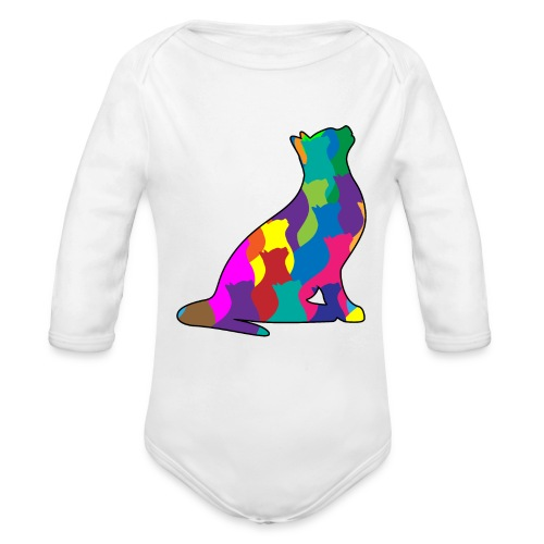 Colorful Cat Collage Silhouette - Organic Long Sleeve Baby Bodysuit