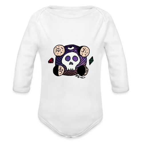 Moon Skull from Outer Space - Organic Long Sleeve Baby Bodysuit