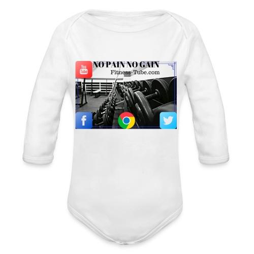 gym no pain no gain 1 - Organic Long Sleeve Baby Bodysuit