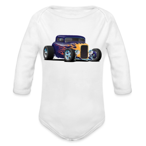 Vintage Hot Rod Car with Classic Flames - Organic Long Sleeve Baby Bodysuit