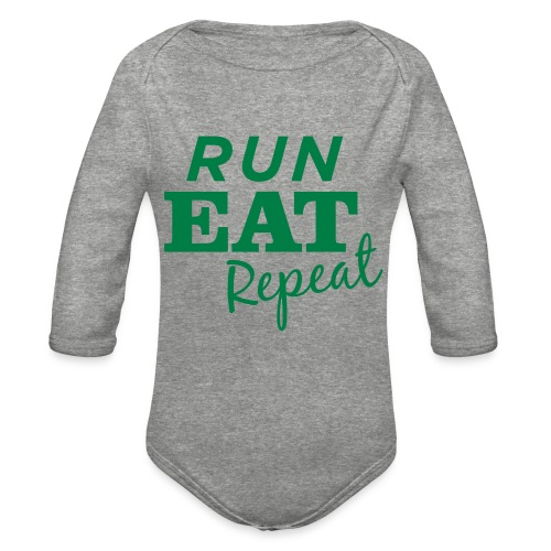 Run Eat Repeat buttons medium - Organic Long Sleeve Baby Bodysuit