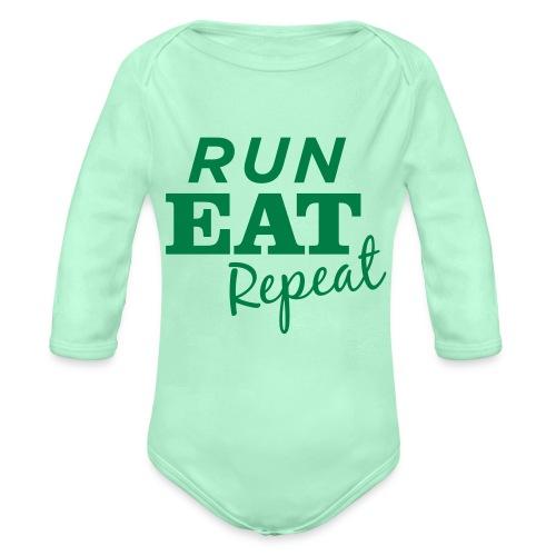 Run Eat Repeat buttons medium - Organic Long Sleeve Baby Bodysuit