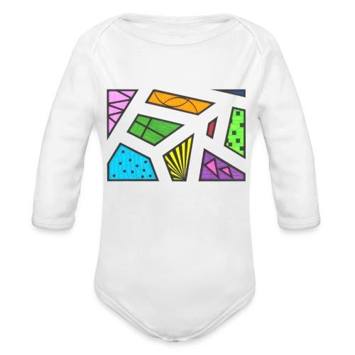 geometric artwork 1 - Organic Long Sleeve Baby Bodysuit
