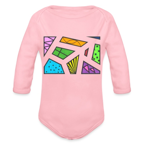 geometric artwork 1 - Organic Long Sleeve Baby Bodysuit