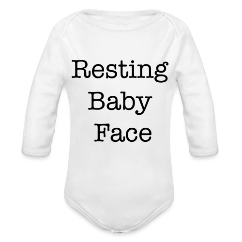 Resting Baby Face Baby Shower - Organic Long Sleeve Baby Bodysuit