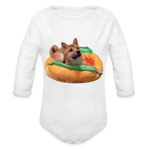hot doge - Organic Long Sleeve Baby Bodysuit