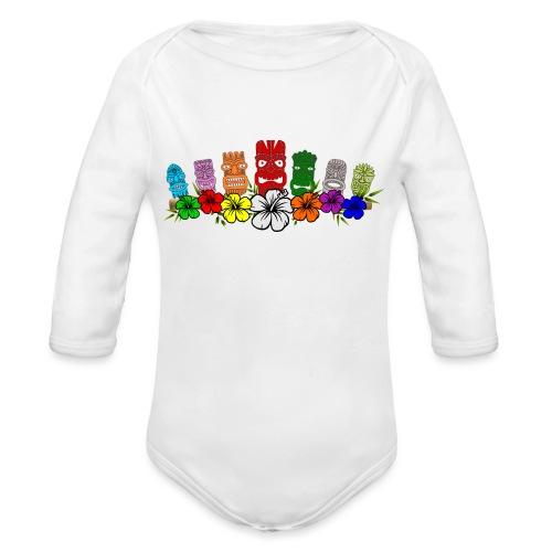 7 Colorful Hawaiian - Polynesian Tiki Idols - Organic Long Sleeve Baby Bodysuit