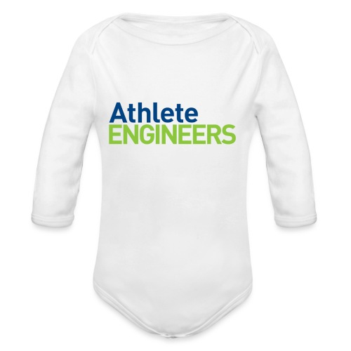 Athlete Engineers - Stacked Text - Organic Long Sleeve Baby Bodysuit
