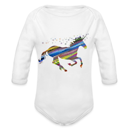 The Majestic Prismatic Streaked Magical Unicorn - Organic Long Sleeve Baby Bodysuit