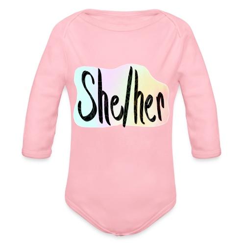 She/Her 1 - Large - Organic Long Sleeve Baby Bodysuit