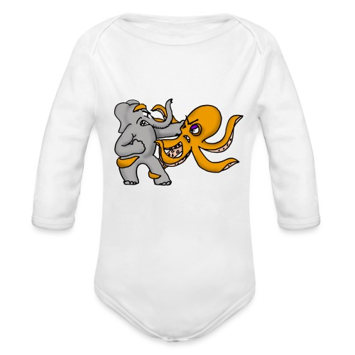 Elephant vs. Octopus Mug - Organic Long Sleeve Baby Bodysuit