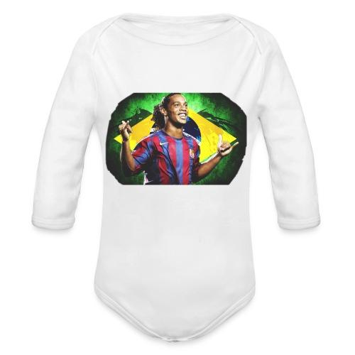 Ronaldinho Brazil/Barca print - Organic Long Sleeve Baby Bodysuit