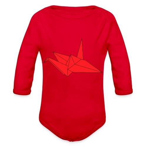 Origami Paper Crane Design - Red - Organic Long Sleeve Baby Bodysuit