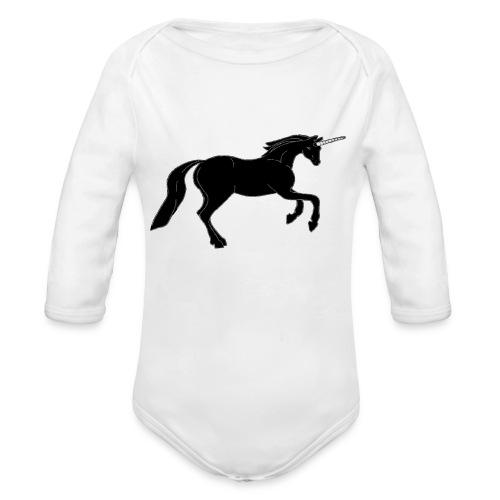 unicorn black - Organic Long Sleeve Baby Bodysuit