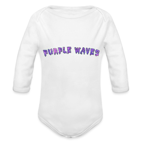 Purple Waves - Organic Long Sleeve Baby Bodysuit