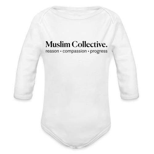 Muslim Collective Logo + tagline - Organic Long Sleeve Baby Bodysuit