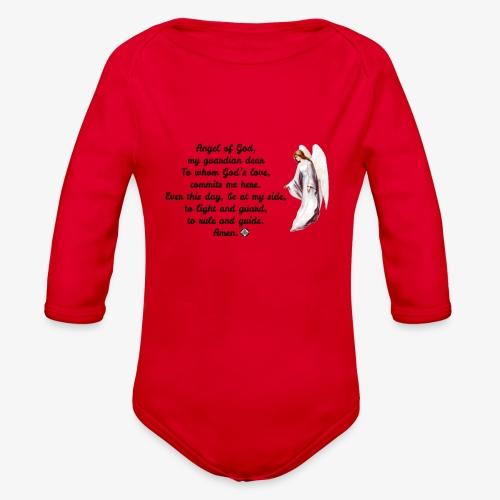 Guardian Angel prayer - Organic Long Sleeve Baby Bodysuit