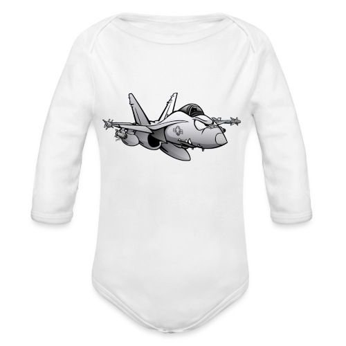 Military Fighter Attack Jet Airplane Cartoon - Organic Long Sleeve Baby Bodysuit