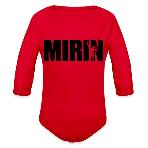 Zyzz Mirin Pose text - Organic Long Sleeve Baby Bodysuit