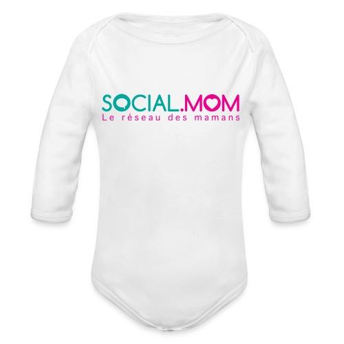 Social.mom logo français - Organic Long Sleeve Baby Bodysuit