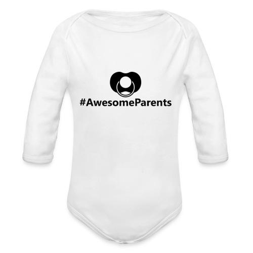 #AwesomeParents Black - Organic Long Sleeve Baby Bodysuit